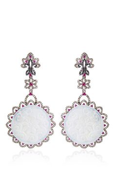 Bochic Carved White Jade, Diamond and Ruby Earrings  (=)