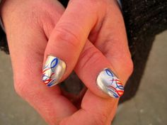 July 4th Nails or use them for them Patriots! !! Football. Red blue swirls
