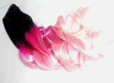 Black to Dark Pink/Pastel Pink Ombre Hair Extension -  Full Set Weft Clip Extensions - Ombre - Free People -18-20inch hair. $120.00, via Etsy.