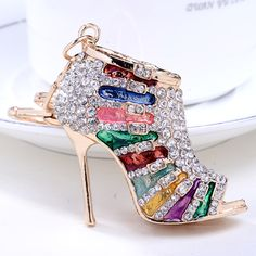 Chaveiro! Novedad de cristal Llaveros Rhinestone Zapatos de Tacón Alto Mujeres de la aleación Del Bolso del Llavero del encanto titular de la clave bolsa de regalo de La Joyería R003