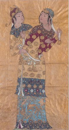 The Zodiac Gemini illustrated in the form of persian courtly twins.
