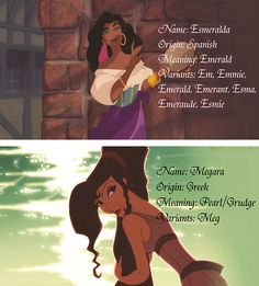 Meaning behind Esmeralda and Megara.