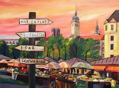 Munich Bavaria Viktualienmarkt with Signposts  a by artshop77, $20.00