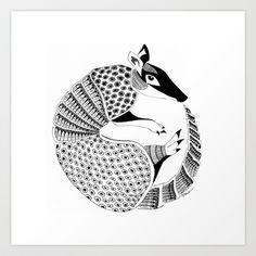 Possum on the Half Shell (Armadillo) Art Print by Janin Wise - X-Small Armadillo, Animal Tatu, Tatou Animal, Mexico Tattoo, Zentangle, Rare Animals, Abstract Drawings, Office Art, Mural Art