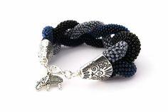 Dark Statement Blue Gray Black Bracelet by EdoraJewels