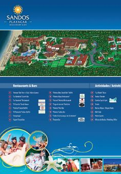 Sandos Playacar Beach Resort and Spa restaurant and bar map!  Looking for where all the good food and drink is at Sandos Playacar?  Here is a map to help you get around the resort property!