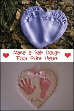 Capture those special memories with your kids by making salt dough footprint heart!