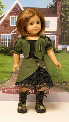 Steampunk Soldier Skirt Set for American Girl. American Doll Clothes, Ag Doll Clothes, Clothes Crafts, Doll Clothes Patterns, Clothing Patterns, American Dolls, Doll Patterns, Women's History, British History