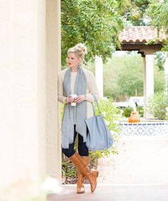 Ashley Brooke Designs; Love the outfit and scarf. Not a big fan of the bag.