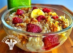 EGG WHITES 6 OATMEAL 1/2 CUP BANANA 1/2 WALNUTS 1/8 CUP RASBERRIES 1/4 CUP CINNAMON RAW ORGANIC HONEY