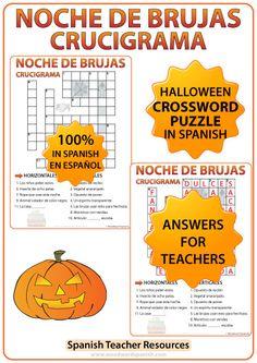 Crossword with Vocabulary about Halloween in Spanish. Crucigrama con vocabulario acerca de la Noche de Brujas en español.