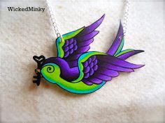 messenger of love...  purple and lime green Tattoo Songbird with skeleton key necklace. $19.00, via Etsy.