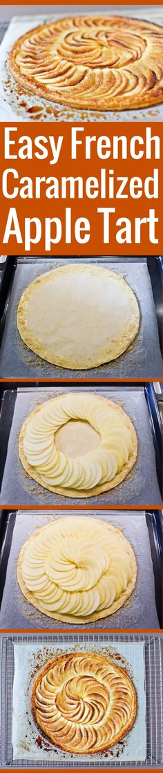 Authentic A perfect, simple recipe for a French caramelized apple tart...., ,