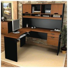 Oak Computer Desks With Hutch 1
