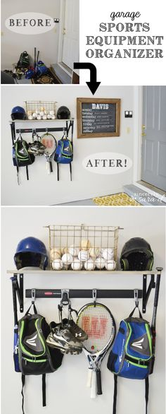 An easy DIY to organize all that sports equipment in your garage.  Love the chalkboard weekly sports schedule!