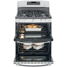GE 6.8 cu. ft. Double Oven Gas Range with Self-Cleaning Convection Lower Oven in Stainless Steel-JGB870SEFSS - The Home Depot