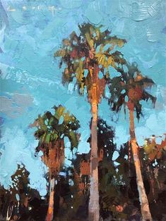 """Daily Paintworks - """"The Villages: Part - Original Fine Art for Sale - © Christopher Long Abstract Landscape, Landscape Paintings, Oil Paintings, Oil Painting Gallery, Palmiers, Tropical Art, Pastel Art, Tree Art, Aesthetic Art"""