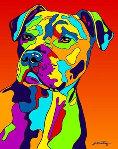Multi-Color American Pit Bull Terrier Matted Prints & Canvas Giclées. Hand painted and printed in USA by the artist Michael Vistia. Dog Breed: The American Pit Bull Terrier is a dog breed. It is a med