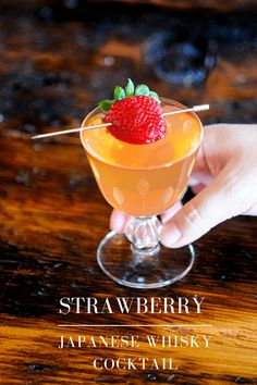 This Hatozaki Japanese whisky cocktail is a great shrub drink as well. Strawberry syrup, rice wine vinegar and strega combine for a tasty and herbal spring drink. #cocktails #strawberry #whisky Alcoholic Punch Recipes, Alcoholic Cocktails, Easy Drink Recipes, Best Cocktail Recipes, Bourbon Cocktails, Drinks Alcohol Recipes, Fun Cocktails, Yummy Drinks, Strawberry Simple Syrup