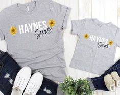 Mommy and me outfits,, Mommy and me shirts, Sunflower shirts, Mommy and me set, Mommy and daughter matching Sunflower Clothing, Sunflower Shirt, Mommy And Me Shirt, Mommy And Me Outfits, Old Boy Names, Thing 1, Mom And Baby, Vintage Shirts, Daughter