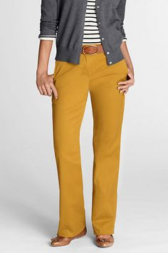 Women's Fit 2 Stretch Chino Trousers from Lands' End LOVE! I want mustard pants!