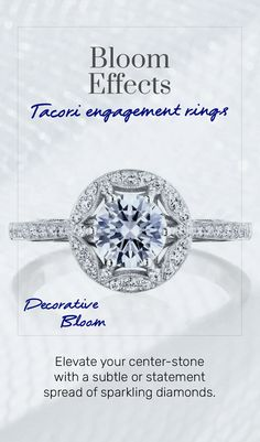 Elevate your center-stone with a subtle or statement spread of sparkling diamonds. #2021Trends #engagementring #engagementringinspo #Tacori #TacoriRing #TacoriBloom #haloring Tacori Rings, Tacori Engagement Rings, Halo Rings, Diamonds, Bloom, Sparkle, Stone, Heart, Jewelry
