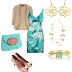 """Gold and aqua"" by jossiebristow on Polyvore"