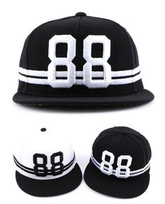 88 Embroidery 2 Striped Snapback Caps Baseball Kpop Hiphop Fashion Hats Unisex