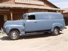 1950 baby blue chevy panel truck... what a cute delivery truck this would be for our country cafe :)