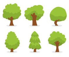 Green Cartoon Tree Vector Set
