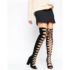 ASOS KASSIN Lace Up Over The Knee Boots ($99) ❤ liked on Polyvore featuring shoes, boots, black, over-knee boots, black boots, black thigh high boots, black thigh-high boots and thigh high heel boots