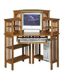 Amish American Mission Corner Computer Desk with Corner Top