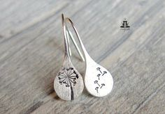 925 Sterling Silver earrings hand stamped dandelions