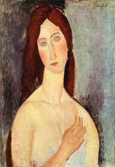 Jeanne aux épaules nues, 1919 by Amedeo Modigliani Amedeo Modigliani, Modigliani Paintings, Pablo Picasso, Italian Painters, Italian Artist, Jewish Art, Art Moderne, Famous Artists, Female Art
