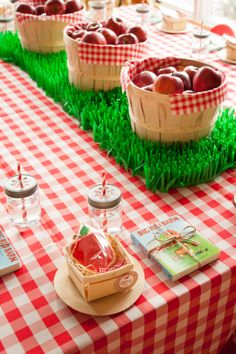 Checkered Table Cloth and Apples Are Key To Creating Any Old McDonald Themed Party by Twenty Three Layers (TTL Events). twentythreelayers.com