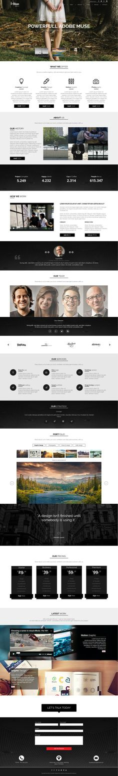 Hitam is an One Page #Muse #template is perfect for Creative Agency, Creative studio, photographer agency, business or multipurpose use. #website