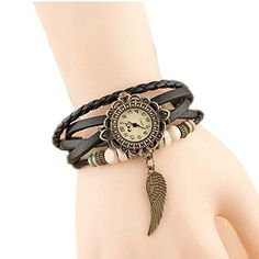 Hosaire Watch Bracelet Vintage Multilayer Weave Wrap Around Leather Chain Bracelet Quartz Wrist Watch with Wing Pendant for Women Men Black  ❤️Round watch dial with Arabic numerals hour indexes. 3 small hands display hour/min/sec, 12 hours Function  ❤️Material: leather watchband and alloy dial pedant  ❤️Multi-layer leather strap, adjustable with metal buckles to fit most people  ❤️NB: not waterproof, please take care; battery included  ❤️Also a braclet decoration