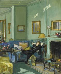 "huariqueje: "" Mrs.Osler - John Lavery . 1929 Irish, 1856 - 1941 Oil on canvas, 29 x 23 5/8 in.73.6 x 60 cm """