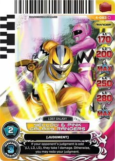 Yellow and Pink Galaxy Power Rangers Trading Card