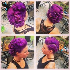 Purple hair. Purple Updo. Wedding Hair. Purple Faux Hawk. Janine Argila - Prism Wellness - St. James NY @Janine Hardy Argila @PRISM Wellness
