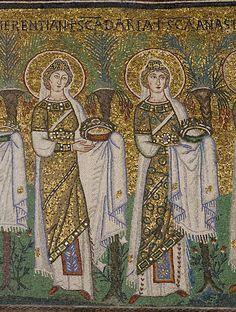 Procesja  męczennic ze ściany północnej w bazylice San`Apollinare Nuovo w Rawennie