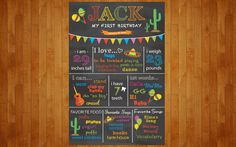 Fiesta Cinco de Mayo 1st Birthday Chalkboard Poster Mexican Fiesta Theme 1st Year chalkboard Poster 1st year stats Customized Digital File by PopofColorDesigns on Etsy