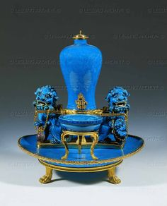 BAROQUE PORCELAIN:CHINESE 18TH  Perfume fountain,chinese porcelain,turquoise-blue, Kang Hsi,mounted 1780. 29 x 24 cm From the Collection of Marie Antoinette OA 7  Louvre, Departement des Objets d'Art, Paris, France