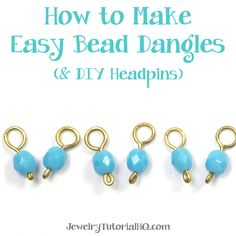 {Video tutorial} Beginner wire jewelry making technique - how to make bead dangles + easy DIY headpins from JewelryTutorialHQ.com