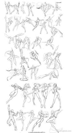 Drawing Body Poses, Body Reference Drawing, Drawing Reference Poses, Hair Reference, Art Sketches, Art Drawings, Fighting Poses, Sketch Poses, Poses References