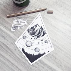 "eatsleepdraw: ""Planets within an abstract landscape - custom dotwork tattoo flash by raw "" Is this available as a sticker?"