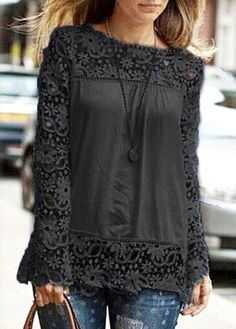 Black Lace Crochet Long Sleeve Chiffon T Shirt: