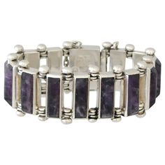 Antonio Pineda .970 Silver Bracelet with Amethysts | From a unique collection of vintage link bracelets at http://www.1stdibs.com/jewelry/bracelets/link-bracelets/ 2850-
