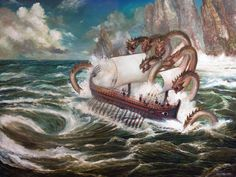 Scylla and Charybdis -- idiom for being caught between two evils (the six-headed monster and the whirlpool, in Homer's Odyssey).