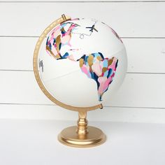 Wedding Guestbook Custom Hand Painted World Globe with Flora .-Wedding Guestbook Custom Hand Painted World Globe with Florals and Personalized Calligraphy Message Diameter Large Wedding guest book individually hand-painted globe with